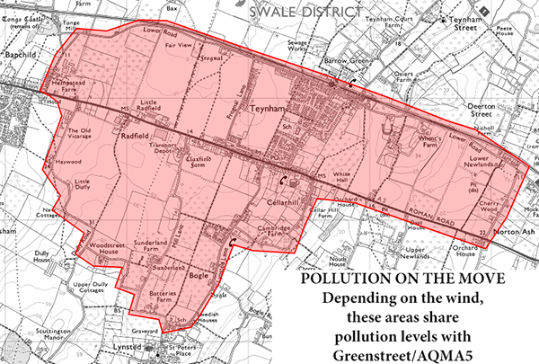 Map indicating areas where pollution levels can be the same as AQMA5